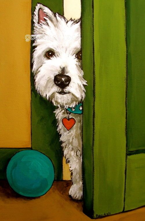 "West Highland Terrier Westie Matted Print Painting ""Sneaking A Peek"" Dog Randall | eBay"
