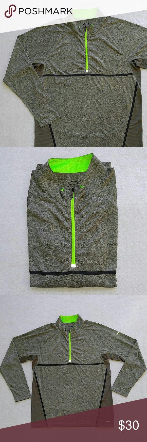Champion Duo Dry Shirt Army green and neon yellow Duo Dry shirt! Gently used and in good condition! It just has a small hole on the back of the collar from where the tag was placed. Thanks for looking! Champion Shirts Tees - Long Sleeve