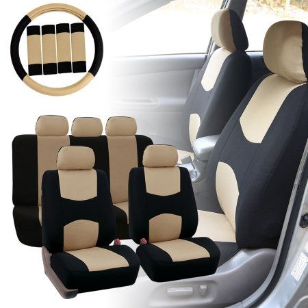 FH Group Car Seat Covers Flat Cloth for Sedan, SUV, Van, Full Set w/ Steering Cover & Belt Pads, Beige Black