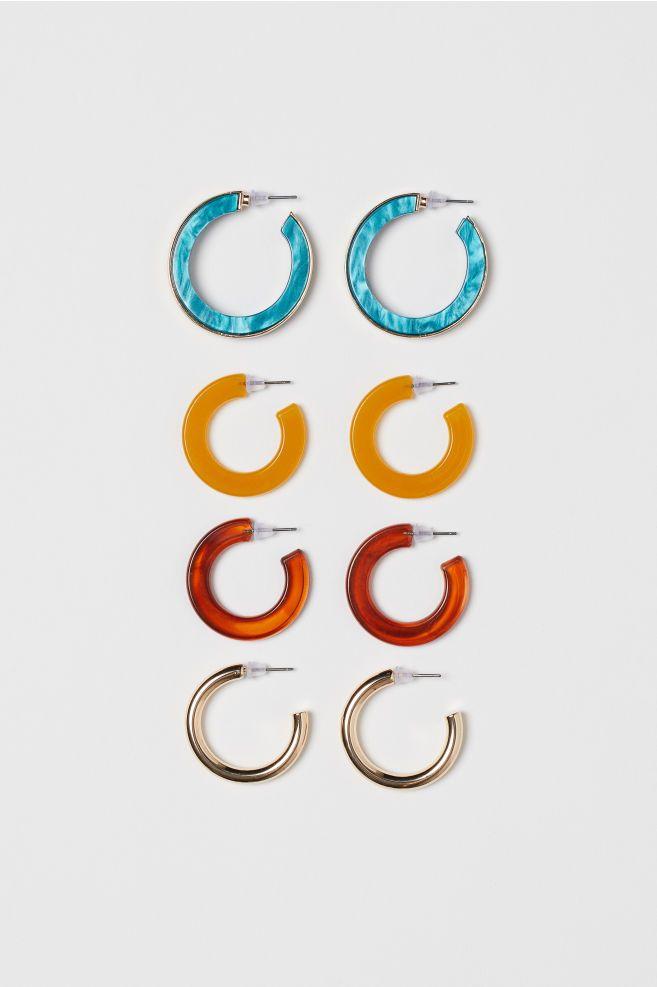 6072ccfe7d0b8 H&M 4 Pairs Hoop Earrings - Gold in 2019 | Summer 2k19 | Earrings ...