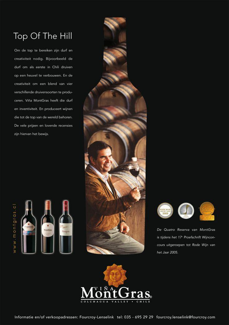 Vina Mont gras. wijn advertentie. Concept, ontwerp en uitvoering. Reclamebureaus en ontwerpbureaus
