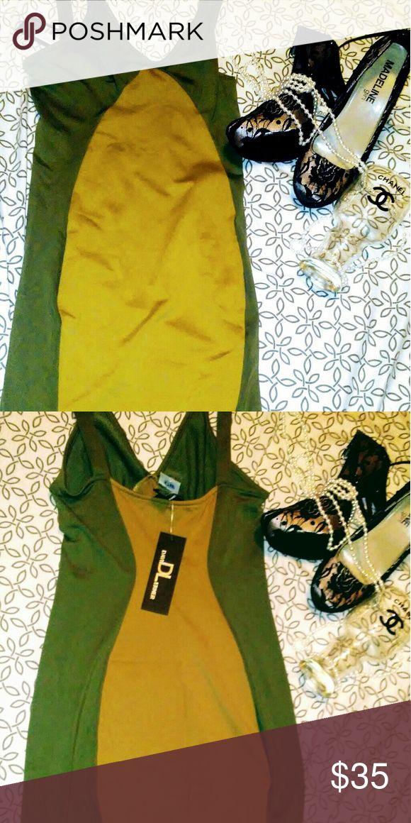 David Lerner olive and camel mini bodycon dress Olive and Camel bodycon dress David Lerner Dresses Mini