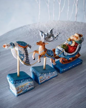 Santa+on+Sleigh+with+Deer+and+Goose+by+G.+DEBREKHT+at+Horchow.