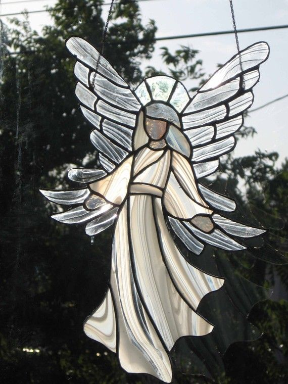 Angel Stained glass beautiful angel customized by GlassyART, $95.00