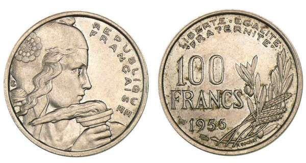 100 francs Cochet 1956 A/ REPUBLIQUE/ FRANÇAISE. Buste de Marianne à droite. R/ LIBERTE. EGALITE/ .FRATERNITE. 100 FRANCS/ (millésime). Gerbe formée d'épis et de branches d'olivier.