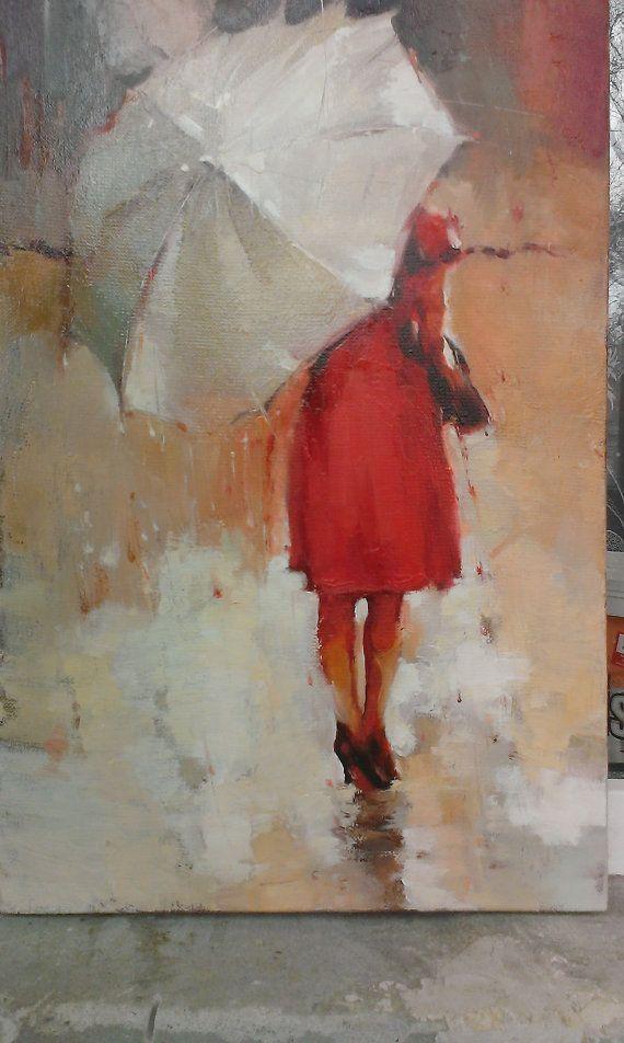 Donna in rosso con ombrello - olio su tela - donna - casa arredamento-parete pittura - collezione d