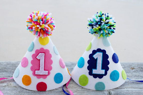 1st Birthday Party Hat - Boys and Girls First Birthday Felt Party Hat - Boy/Girl Twins - Cake Smash