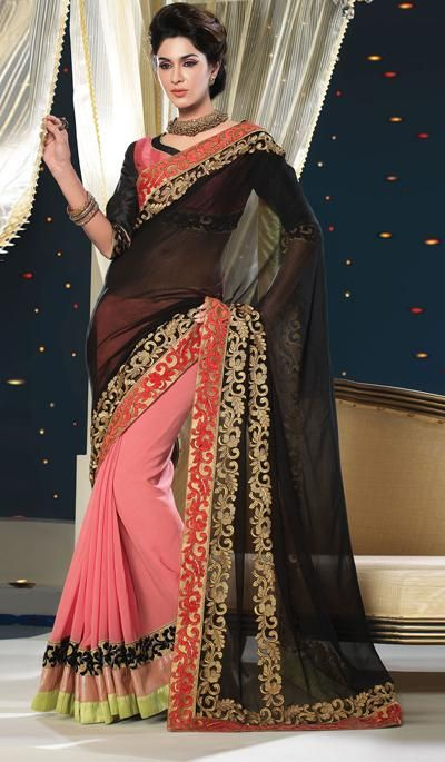 G3fashions Black peach georgette party wear saree  Product Code: G3-LS15812 Price: INR RS 5950