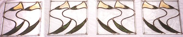 Custom art nouveau tulip panels (Tulipa) for home entertainment unit. Original design by Kelly Haggard Olson. All Rights Reserved.