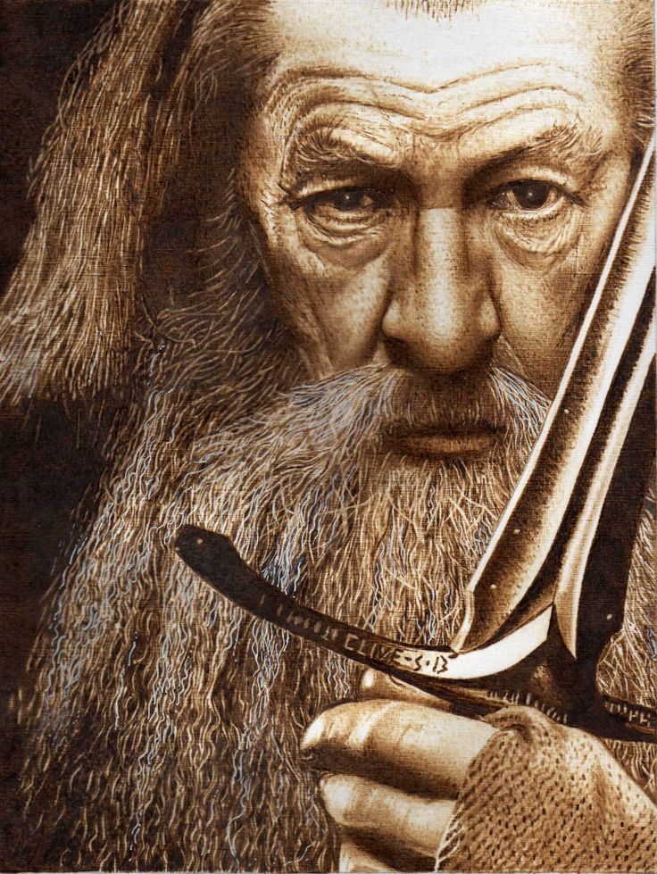 Gandalf Pyrography On Paper Clive Smith Wood Burning