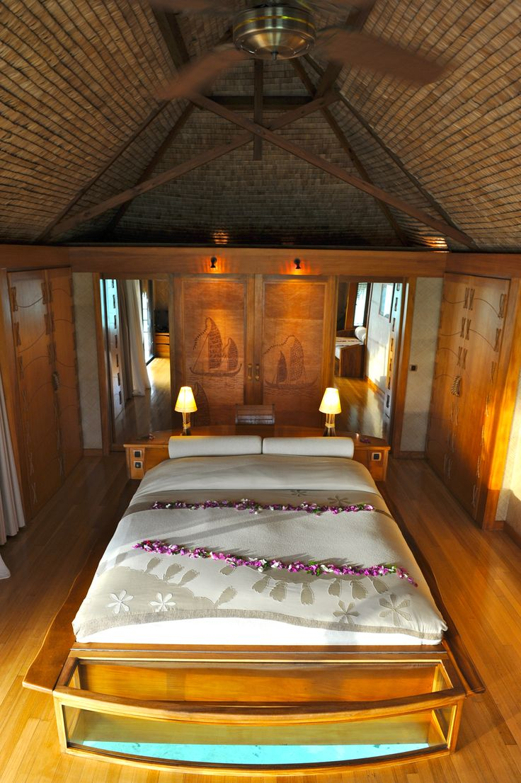 Inside an overwater bungalow at Le Taha'a Island Resort and Spa in Taha'a, French Polynesia. Photo credit: Danee Hazama.