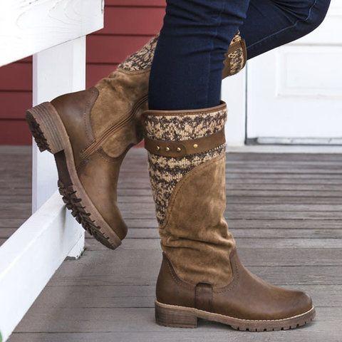 c2de2c4ef Shop Boots - Modmiss Women's Boots Round Toe Low Heel Snow Boots Black  Zipper Boots online. Discover unique designers fashion at modmiss.com.