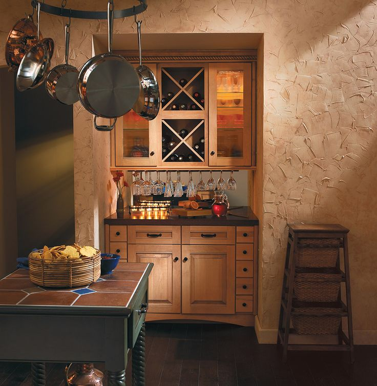 Merillat Masterpiece Laredo Square Tuscan Style Kitchen With Wine Cabinet And Wire Stem