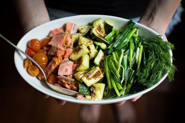 Warm Bread Salad with Smoked Salmon, Roasted Vegetables & Creamy Dill Dressing recipe on Food52