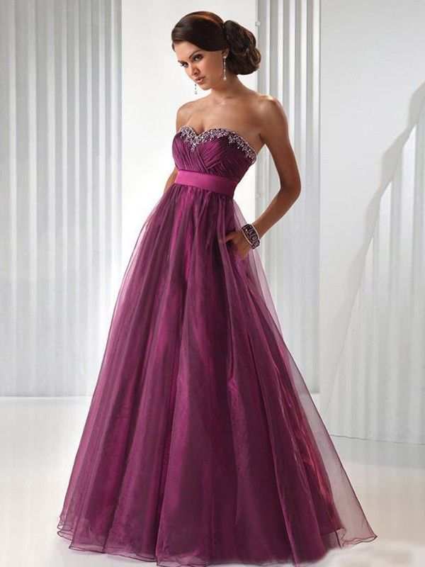 Ball Gown Sweetheart Sleeveless Beading Floor-length Organza Dresses