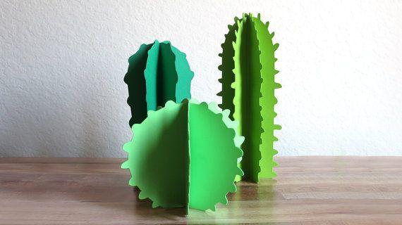 Paper Cacti - Desert Succulents - Western Tribal - Party Decorations - Desk Accessories - Paper Sculpture - Office Plant - Mexican Decor
