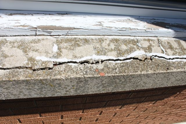 How to repair a concrete window sill window and window sill for Repairing concrete window sills exterior