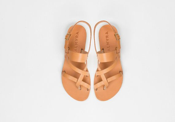 Ancient greek style leather sandals by Almyra by AlmyraSandals