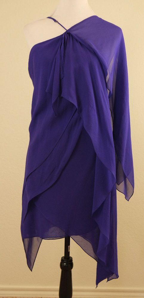BCBG MAX AZRIA SILK Dress Drape 12 Large Purple Spaghetti Strap #BCBGMAXAZRIA #Draped