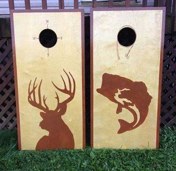deer and fish hunter themed cornhole board set by countrycornholes - Cornhole Design Ideas