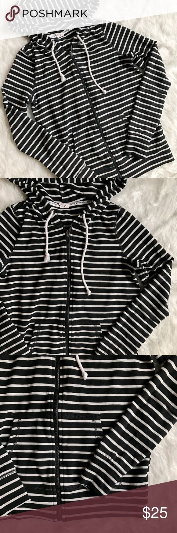 Roxy Stripe Zip Up Hoodie Sweatshirt I love this hoodie, I just don't wear it enough. It's very stretchy and super soft with a very flattering fit. Black and white stripes. Excellent condition with no pilling at all. Size small. Roxy Tops Sweatshirts & Hoodies