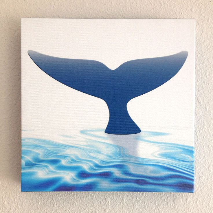 """Whale Tail on Canvas. 1 of 3 in the Blue Planet series. 8 x 8"""" giclee on canvas 1.5"""" deep with gallery wrap around sides. See this and companion pieces (honu & dolphin) at etsy.com/shop/kauaidesigngraphics"""