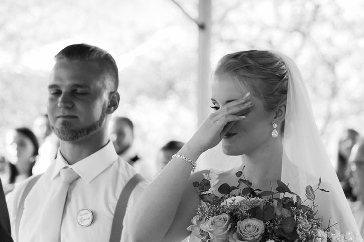snap shot of bride crying
