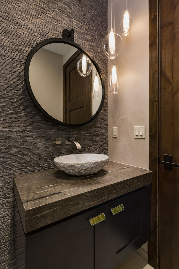 Spa Like Powder Room With Stone Top Vanity With Vessel Sink And