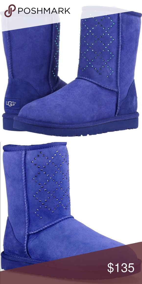 """UGG Classic Short Crystal Diamond Boots UGG Classic Short Crystal Diamond Boots. Cobalt blue. Swarovski crystals. Twinface sheepskin. Plush wool insole. Treadlite by UGG (TM) outsole. 8"""" shaft height. New with Box UGG Shoes Ankle Boots & Booties"""