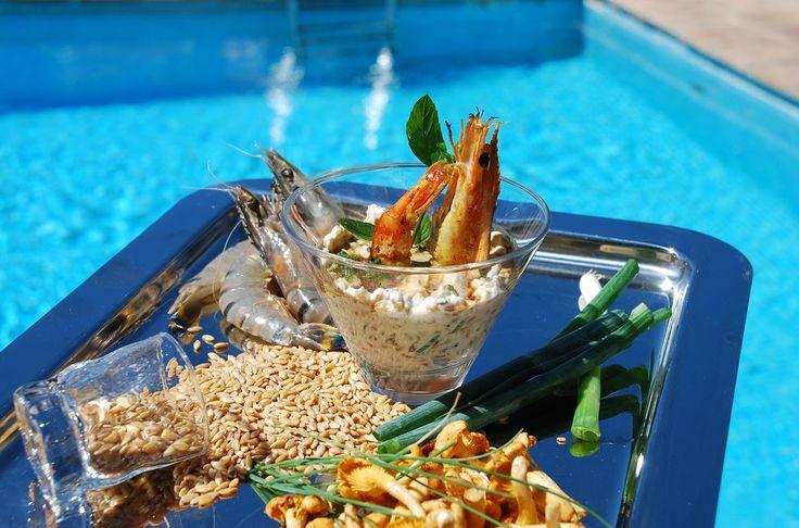 Risotto crémeux de blé, petit épautre de provence, gambas roti