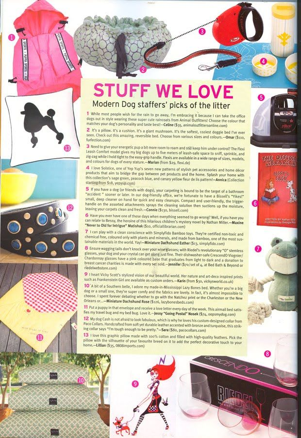 A mention in a Canadian dog lovers magazine for my art direction collab with Illustrator Vicky Scott on character 'Miss M'