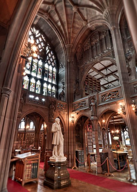 Victorian gothic architecture, John Rylands Library in Manchester, England @Sarah Goldberg