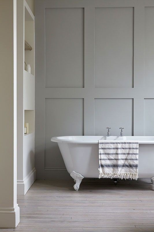 Love the panelling. London Victorian, Clawfoot Tub, Light Gray Panelled Wall | Remodelista