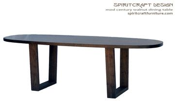 The Mod Century Oval Dining Table in Walnut - contemporary - Dining Tables - Chicago - Spiritcraft Fine Furniture and Cabinet Makers