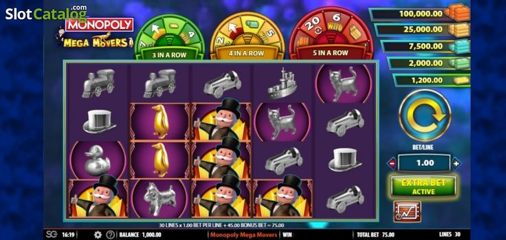 Game Workflow screen . Monopoly Mega Movers (Video Slot from SG)