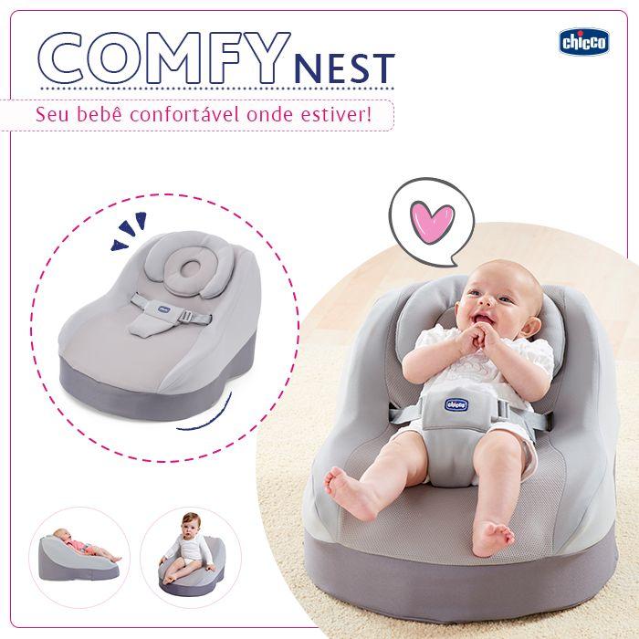 UMA MANEIRA RELAXANTE PARA SEU PEQUENO DESCOBRIR UM NOVO MUNDO. Você já conhece a nova espreguiçadeira da Chicco? A Comfy garante máximo conforto e age como um abraço no seu bebê. O ângulo é perfeito para o pescoço do bebê e ele acompanha o crescimento tornando-se um assento quando seu bebê conseguir se sentar sozinho. Você pode levar a Comfy sempre você! Entre em nosso site e confira: www.chicco.com.br