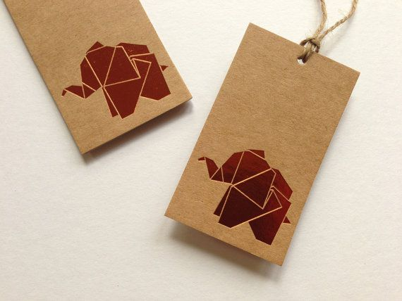 Origami Elephant Kraft Gift Tag set of 5 by YellowArk on Etsy this color ink??