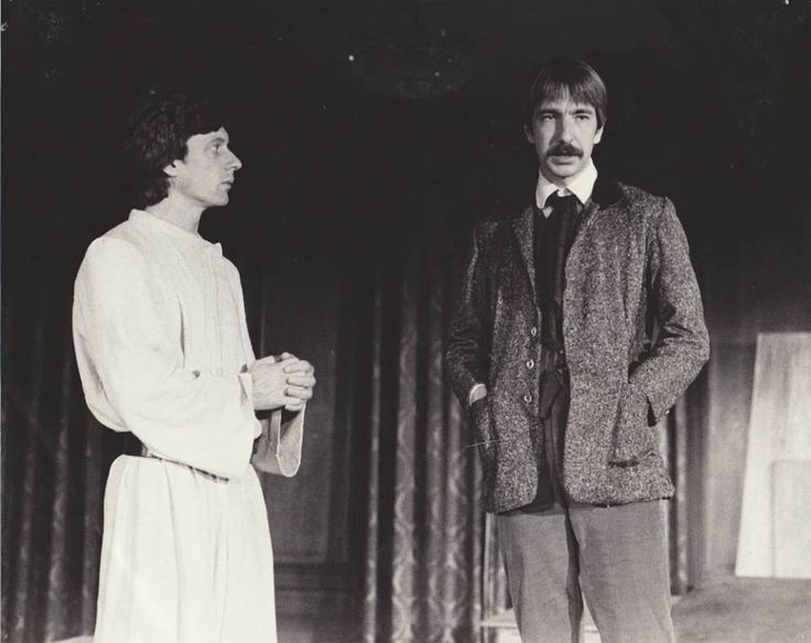 Stephen Boxer and Alan Rickman in Brothers Karamazov  Commissioned by Edinburgh International Festival 1981. Tour Russia and Georgia. West End production, Fortune Theatre 1981. Bought for Broadway 1982.   London Critics Awards: Best Actor Nominations, Alan Rickman, Peter Kelly; Best Director/Designer Faynia Williams.   Souce: brightontheatre.com