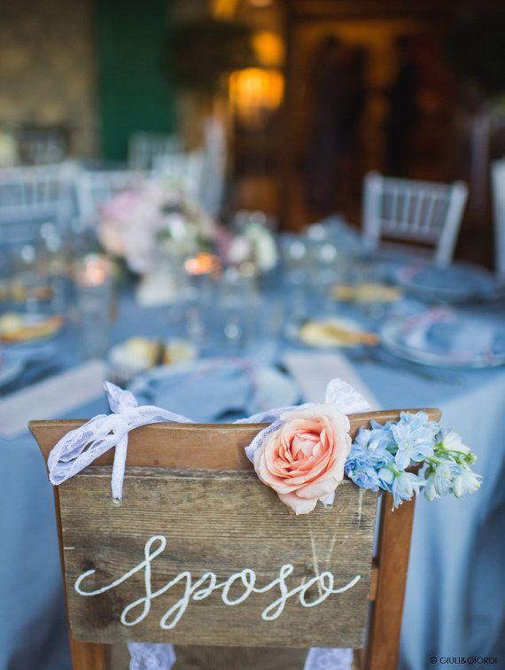 Cartelli per sedie Sposo Sposa - Mr Mrs personalizzabili / Insegna matrimonio in legno antico con scritta calligrafica