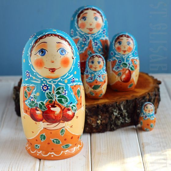 Apples Nesting Doll Set of 5.  $40.00, Catalog of St Elisabeth Convent. Made to order. #GiftIdea #gift #present #PresentandCharity #Charity #toy #kids #matryoshka #nestingdolls #handmade #woodentoys #ecotoys #craft #catalogofogooddeed #catalogofstelisabethconvent
