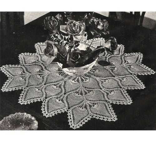 Square Crochet Pineapple Centerpiece Doily Tablecloth Pattern