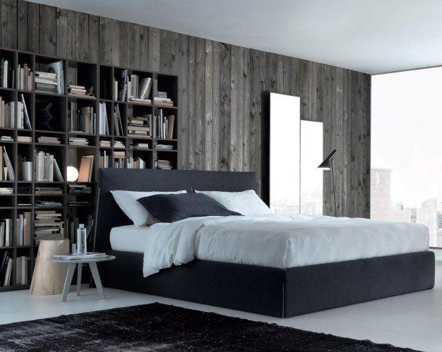chambre moderne avec papier peint imitation bois