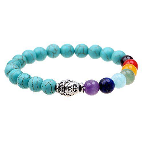 ISHOW 7 color Chakela Yoga Meditation Healing Turquoise Buddha Buddhist prayer, Zen Buddhism, Reiki Energy Mala Bracelet