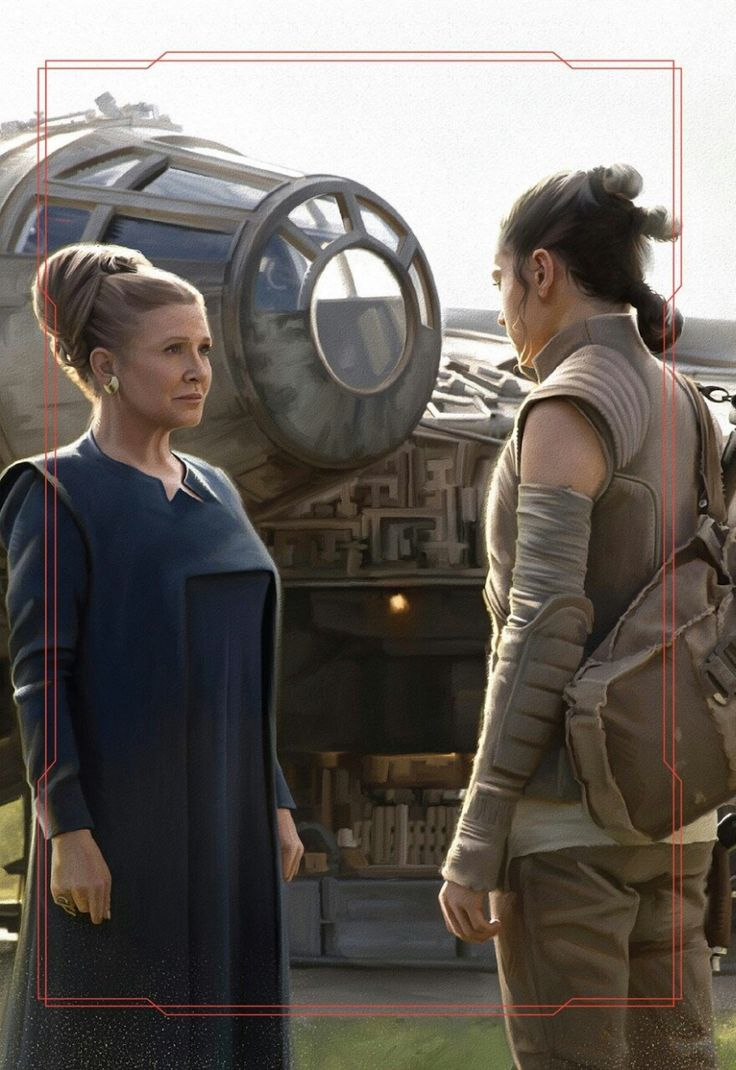 "mattorgana: "" Standing at the foot of the ramp, an uncertain and uneasy Leia found herself fiddling with the seals on the front of the jacket Rey was wearing. ""Foolish nonsense"", she told herself even as she continued. Unworthy of her status and..."
