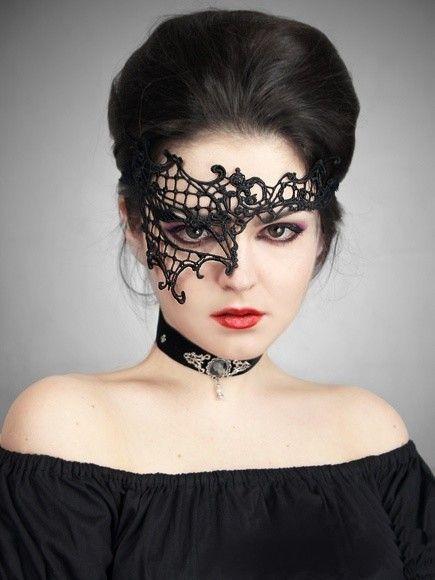 Masque Loup Gothique Burlesque Victorien Dentelle                                                                                                                                                                                 Plus
