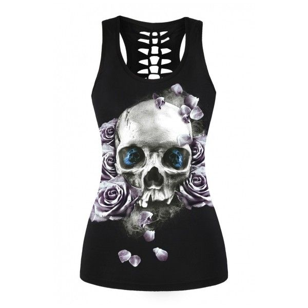 Vintage Rose Skull Printed Scoop Neck Cut Out Back Tank Top (28 NZD) ❤ liked on Polyvore featuring tops, floral cami, vintage camisole, floral tank top, cami tank and camisole tops