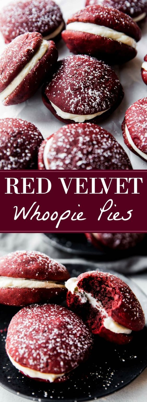 How to make moist and soft red velvet whoopie pies filled with cream cheese filling! Cookie recipe on sallysbakingaddiction.com