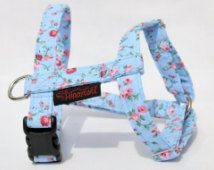 Adjustable Dog Harness (traditional style), Light Blue with Pink Summer Roses…