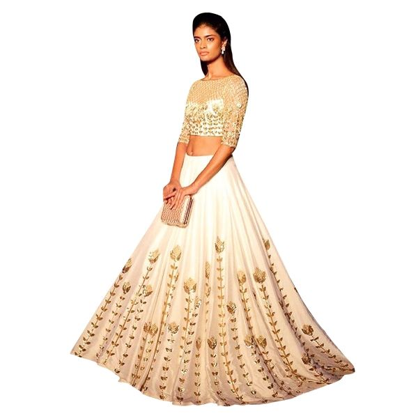Buy White Color Net & Dhupian Silk With Embroidery Work Semi-Stitched Lehenga Choli Online at cheap prices from Shopkio.com: India`s best online shoping site