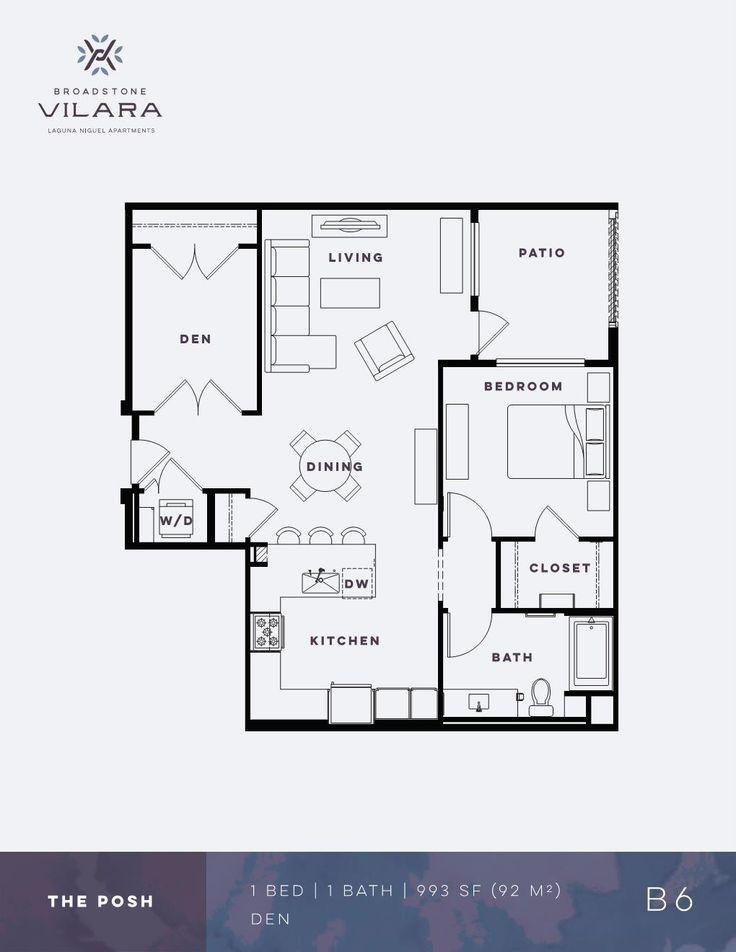 One Bedroom Den Apartment The Posh Broadstone Vilara In 2020 Floor Plans One Bedroom Apartment Floor Plans